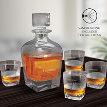 WS115 5 PC BRANDY AND WHISKEY DECANTER SET